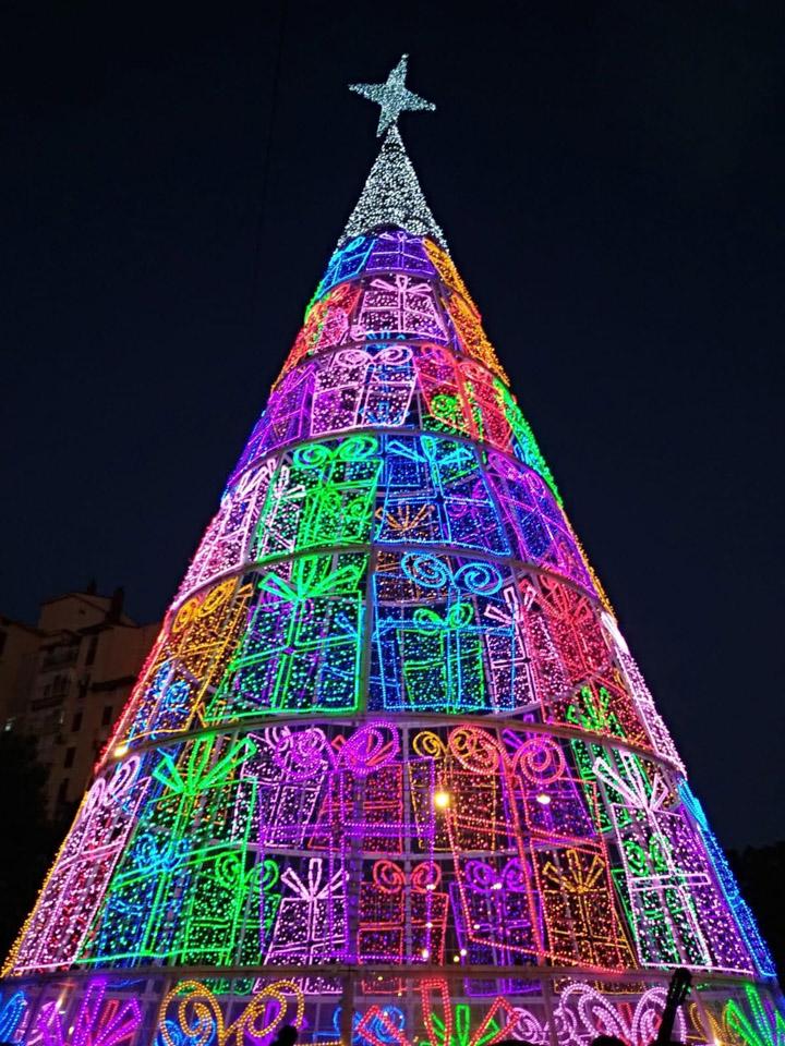 Un árbol de Navidad de 22 metros de altura, el más alto instalado en los cuatro años que el barrio lleva luciendo iluminación navideña.