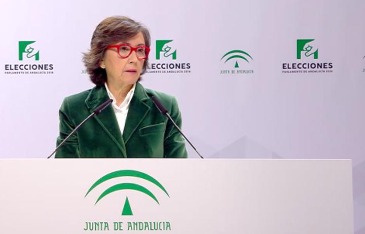 Rosa Aguilar, consejera de Justicia e Interior, en su comparecencia ante los medios.