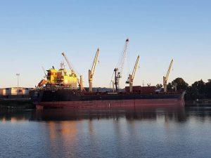 Rodopi atracado en Carbón Puerto. / Foto: Autoridad Portuaria de Sevilla.