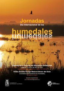 Cartel de las Jornadas divulgativas en torno al Día Internacional de los Humedales en Los Palacios y Villafranca.
