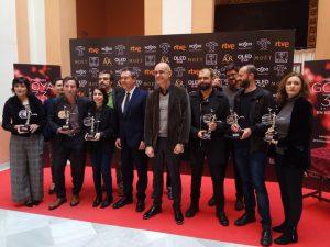 En el acto de entrega de los Giraldillos de plata a los nominados andaluces en los Goya.