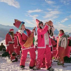 En Verbier, en las fiestas de Navidad, que es típico disfrazarse.