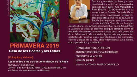 Julio Manuel de la Rosa protagoniza una nueva sesión en la Casa de los Poetas