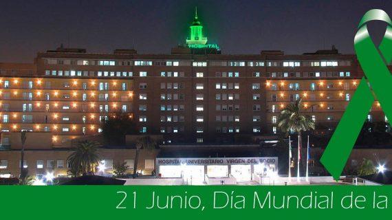 El minarete del Virgen del Rocío se ilumina de verde por el Día Mundial de la ELA