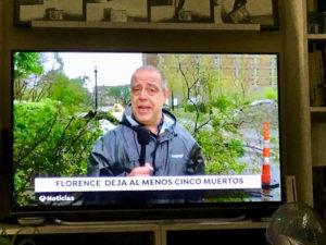 Millán cubrió el paso por Estados Unidos del huracán 'Florence' en 2018 para Antena 3.