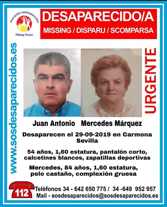Carmona se activa para localizar a sus vecinos Juan Antonio y Mercedes