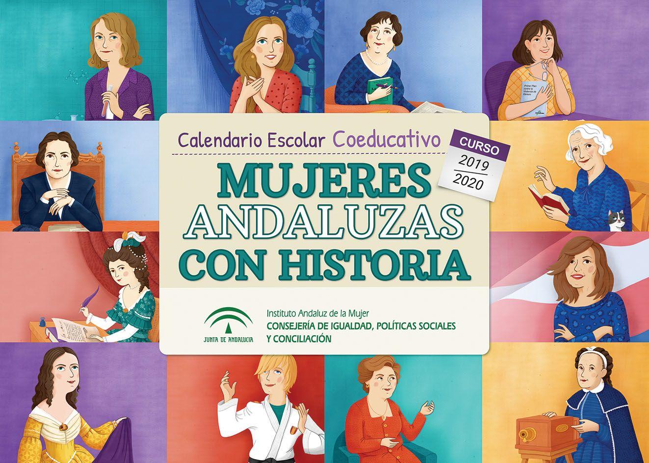 Doce mujeres andaluzas referentes en distintos ámbitos, protagonizan el calendario coeducativo del Instituto Andaluz de la Mujer para este curso