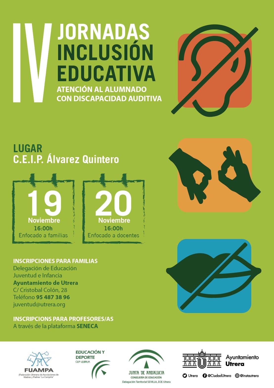Utrera acoge las IV Jornadas de Inclusión Educativa abordando la discapacidad auditiva en las aulas