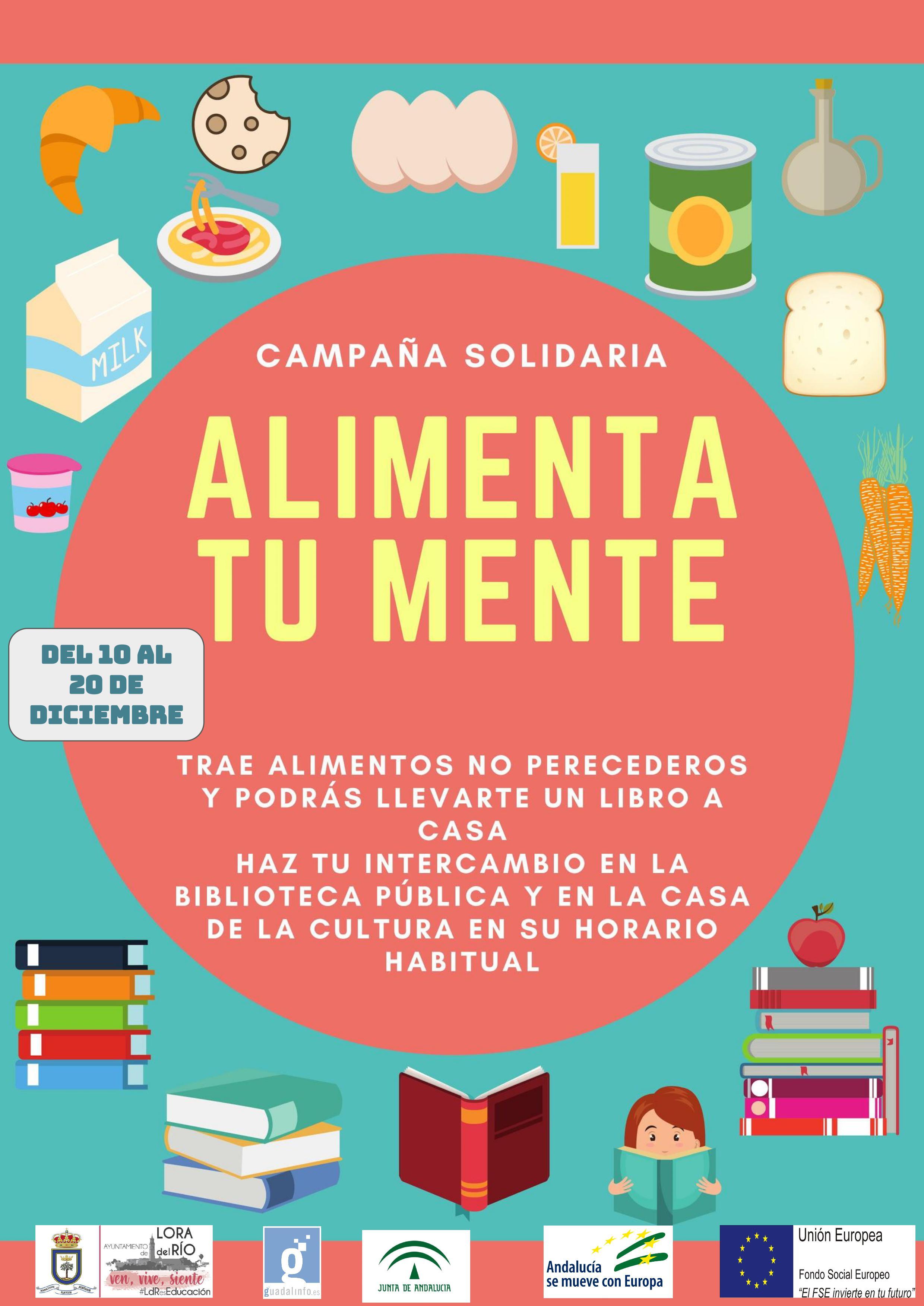 Lora del Río cambiará alimentos no perecederos por libros con la iniciativa 'Alimenta tu mente'