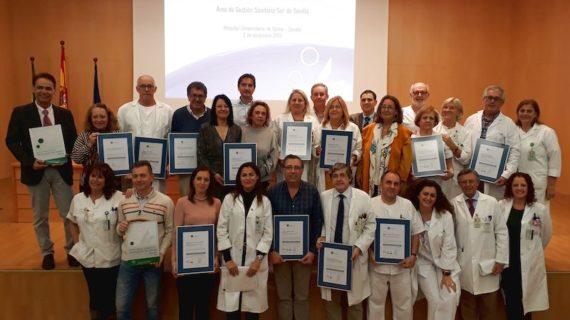 Doce unidades del Área de Gestión Sanitaria Sur de Sevilla reciben la certificación de la Agencia de Calidad Sanitaria de Andalucía